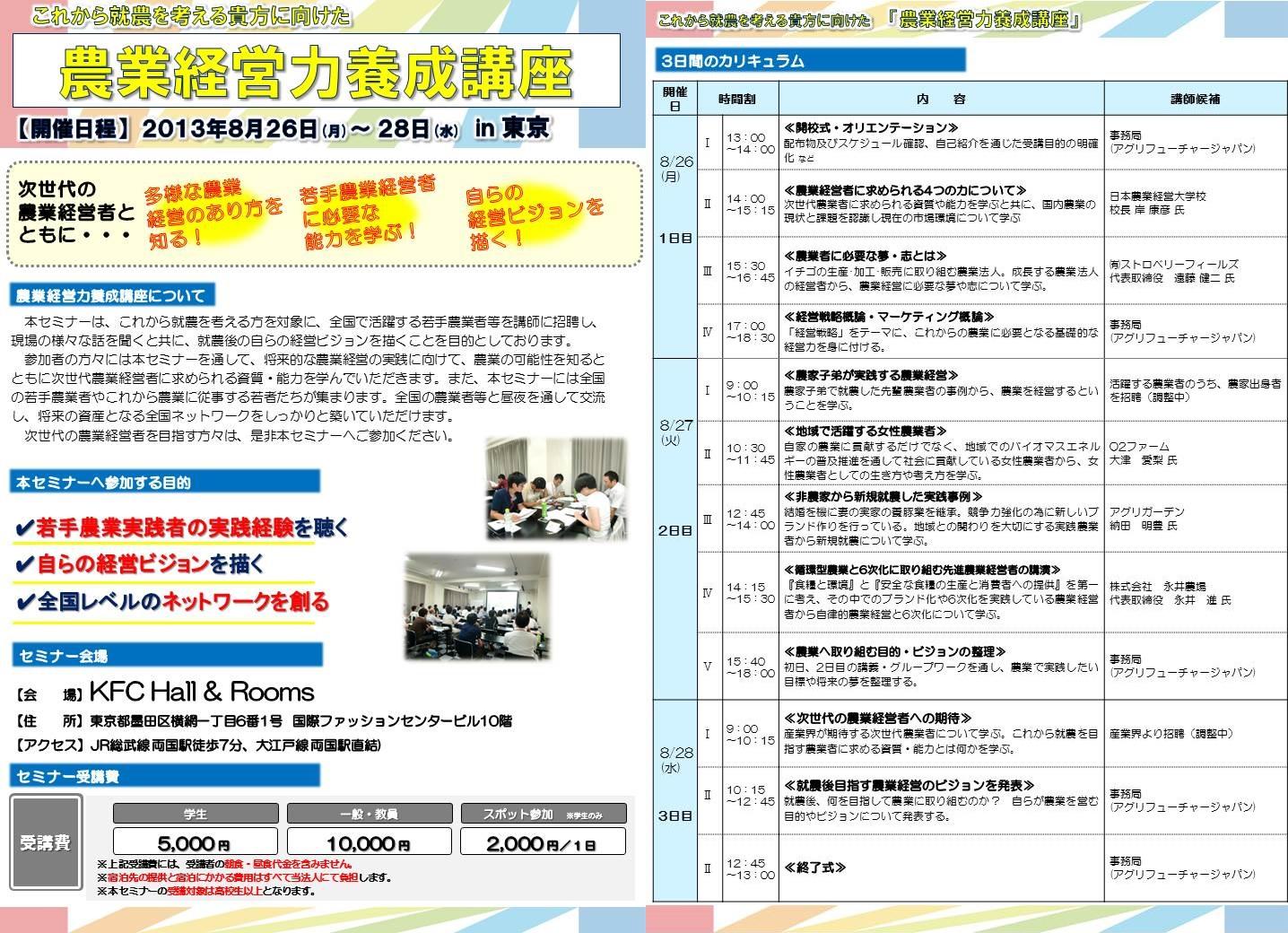 2013農業経営力養成講座(夏)3日間コース プログラム